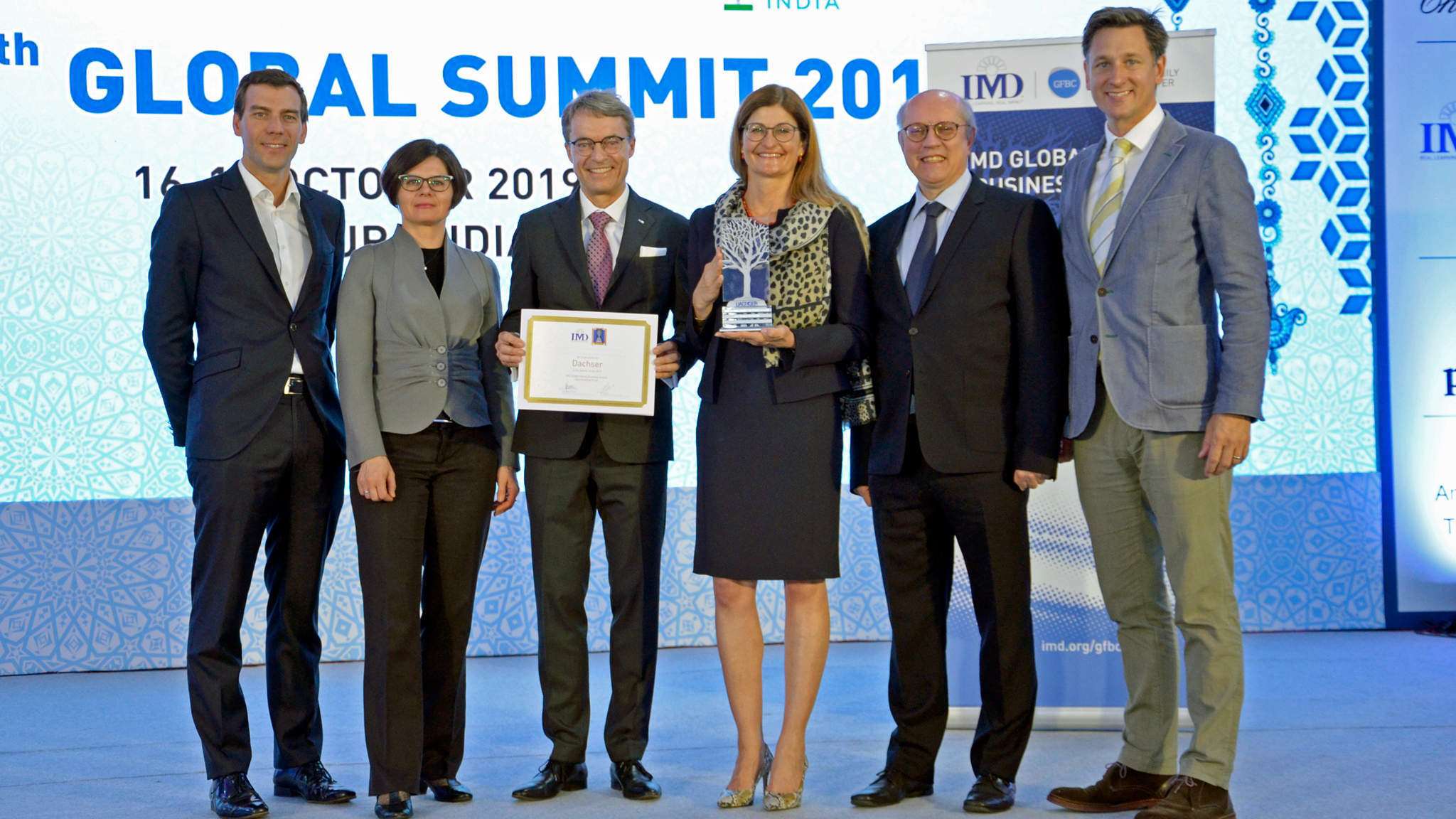 Prof. Peter Vogel, Director of IMD Global Family Business Center; Marta Widz, IMD Research Fellow; Bernhard Simon, CEO DACHSER SE; Birgit Kastner-Simon, Corporate Director Corporate Marketing, DACHSER SE; Prof. Benoit Leleux, IMD Global Family Business Award Director; Matthew Crudgington, Associate Director, IMD Global Family Business Center